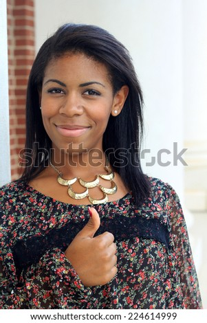 Attractive Professional African American Business Woman Person Black Hair - stock photo