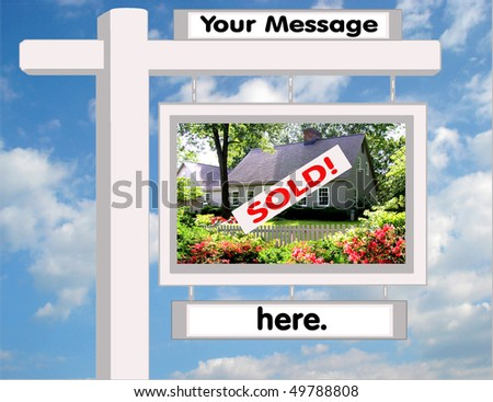 Attractive Real Estate sign, customizable for Realtors, Mortgage Lenders,  Insurance Agents, Home Warranty Companies, Moving Companies, FISBOs, etc... - stock photo