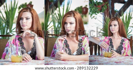 Attractive red hair young woman with bright colored blouse drinking lemonade on a terrace having blue sea in background. Gorgeous redhead model drinking fresh drink with straw in a summer day - stock photo