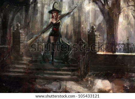 attractive red haired witch in the forest - stock photo
