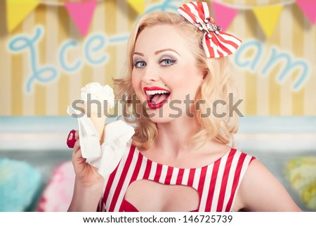 Attractive retro pinup girl eating ice cream cone inside a vintage ice creamery. Illustration background - stock photo