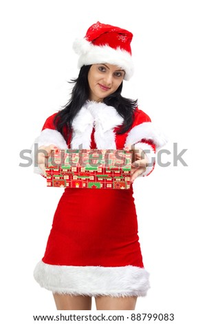 Attractive Santa Claus woman offering gift, isolated on white - stock photo