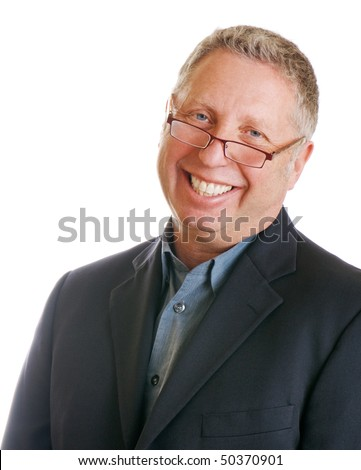 Attractive senior businessman wearing glasses and a smile