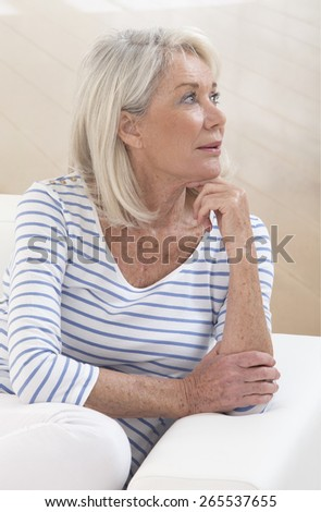 Attractive Senior woman portrait, on bright background with white hair - stock photo