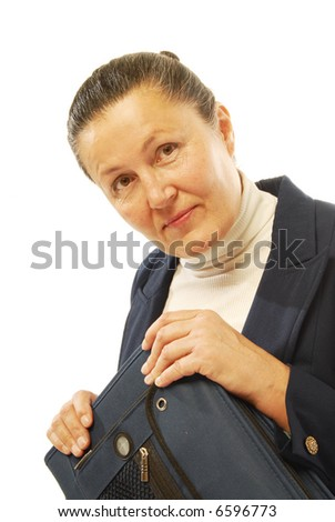 Attractive senior  worker with a binder in her lap; isolated on white - stock photo