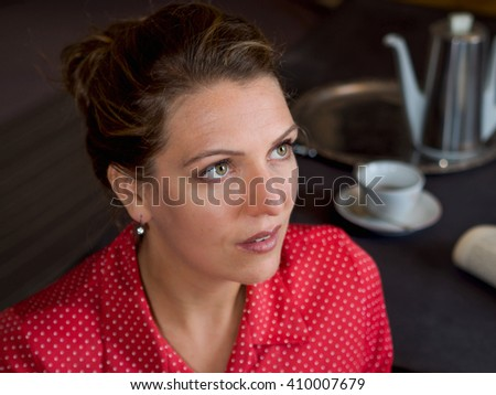 Attractive sensual fashionable retro elegant young adult woman with a red dress looking sideways, horizontal picture - stock photo