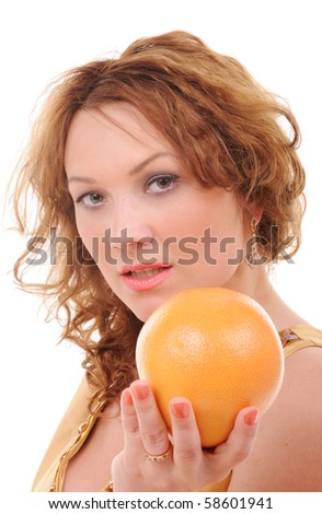 Attractive sensual woman with fresh grapefruit isolated on white background - stock photo