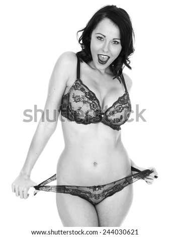 Attractive Sensual Young Woman Wearing Sexy Lingerie - stock photo