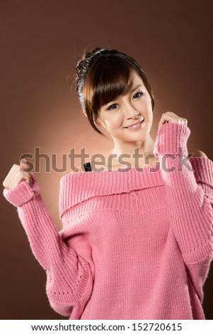 Attractive sexy Asian lady, closeup portrait at studio. - stock photo