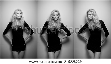 Attractive sexy blonde in black short tight fit dress posing provocatively indoor. Portrait of sensual woman in classic boudoir scene against a wall. Beautiful fair hair female, indoor shot. - stock photo