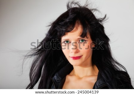 attractive, sexy girl in black - stock photo