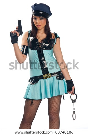 attractive sexy girl in police costume with gun and handcuffs