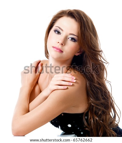 attractive sexy girl with brown long hairs - Isolated on white - stock photo
