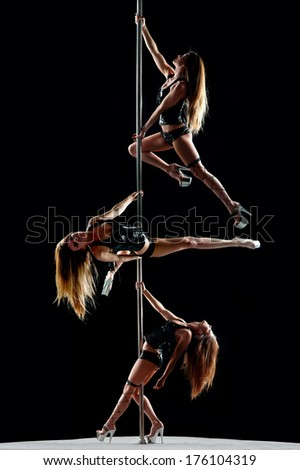 attractive sexy woman pole dancer in stretching pose