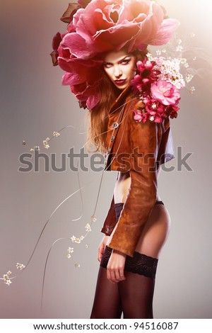 attractive sexy woman with flowers - stock photo