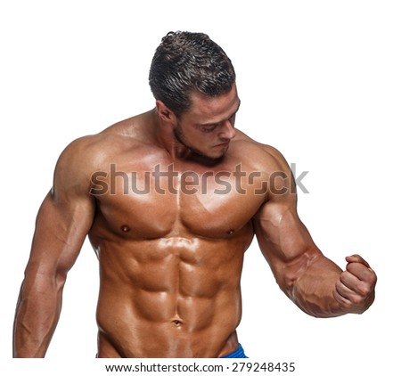 Attractive shirtless macho man showing his muscular body. Isolated on white background - stock photo