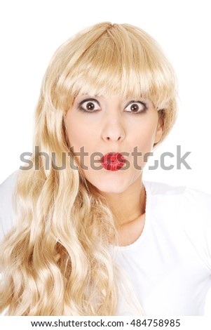 Attractive shocked blonde woman.