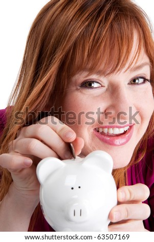 Attractive single woman saving her pennies