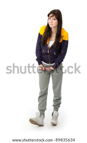 attractive smile teenage girl isolated on white - stock photo
