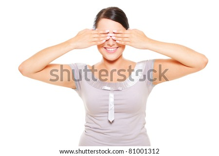 attractive smiley woman covering eyes. isolated on white background
