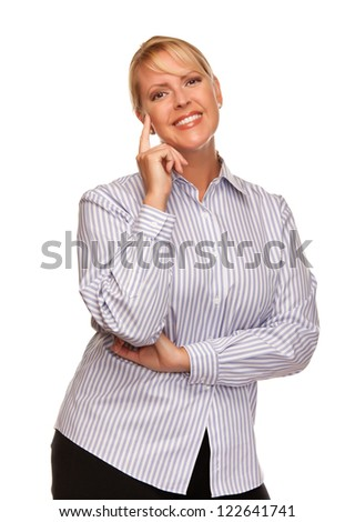 Attractive Smiling Blond Woman Isolated on a White Background. - stock photo