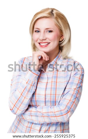 attractive smiling blonde woman - stock photo