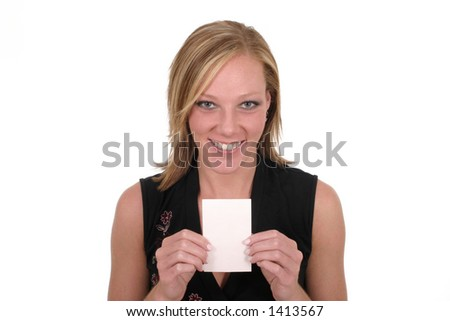 Attractive smiling business woman holding blank card with room for text.