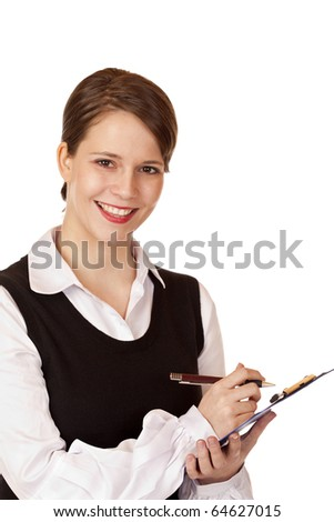 Attractive smiling business woman writes in schedule. Isolated on white background. - stock photo