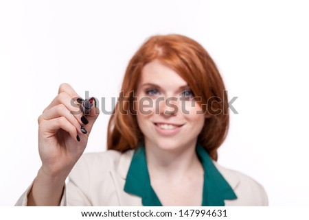 attractive smiling business woman writing with pen isolated portrait copyspace
