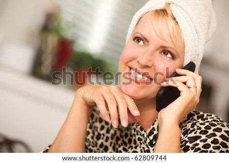 Attractive Smiling Caucasian Woman Talking on Her Cell Phone. - stock photo