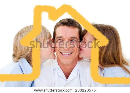 Attractive smiling father with his child against house outline - stock photo