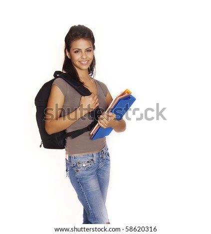 Attractive smiling friendly Latina adult college student going back to school with books and backpack - stock photo