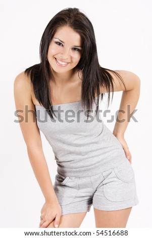 Attractive smiling girl portrait on white background - stock photo