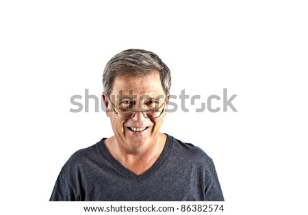 attractive smiling man with black shirt in Studio isolated on white