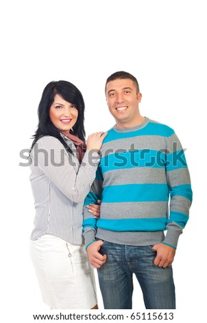 Attractive smiling  mid adult couple isolated on white background