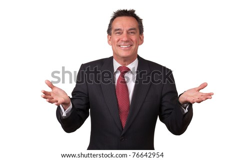 Attractive Smiling Middle Age Business Man in Suit Gesturing with Open Hands - stock photo