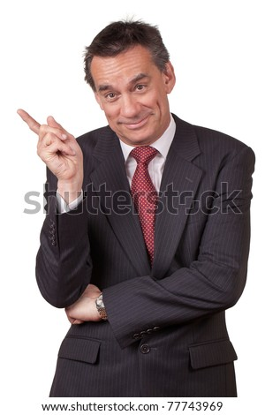 Attractive Smiling Middle Age Business Man in Suit Pointing Left - stock photo