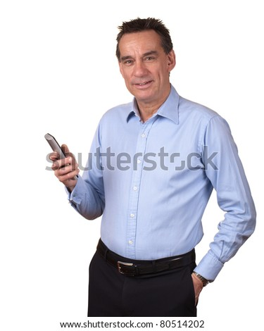 Attractive Smiling Middle Age Man in Blue Shirt Holding Phone