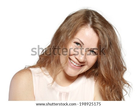 Attractive smiling plus size woman closeup portrait no make up on face - stock photo