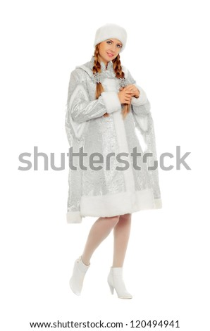 Attractive smiling Snow Maiden. Isolated on white