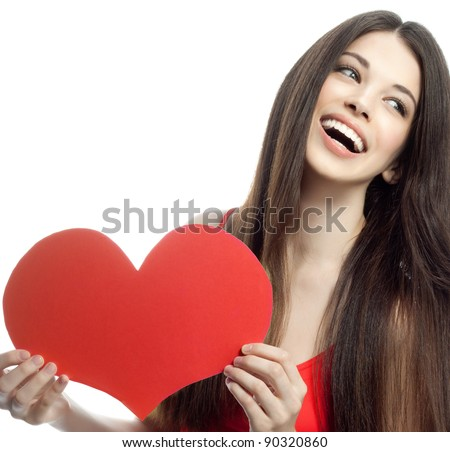 attractive smiling woman isolated on white with heart - stock photo