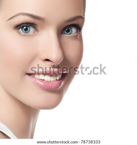 attractive smiling woman  on white background - stock photo