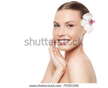 attractive smiling woman portrait on white background - stock photo