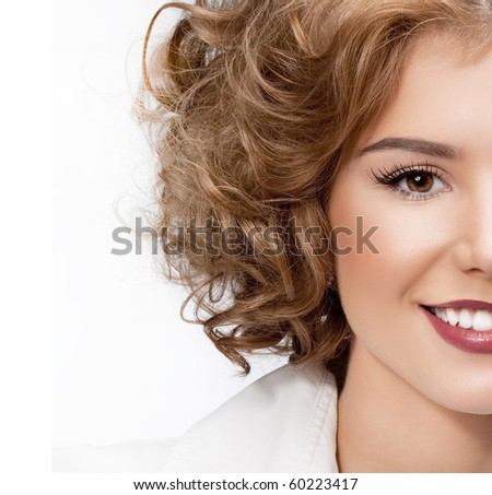 attractive smiling woman with disc  on white background - stock photo