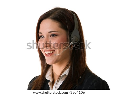 attractive smiling woman with telephone headset; oblique view isolated on white background - stock photo