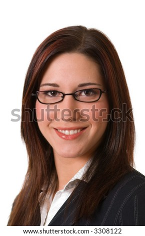 Attractive smiling young businesswoman with glasses; headshot isolated on white - stock photo