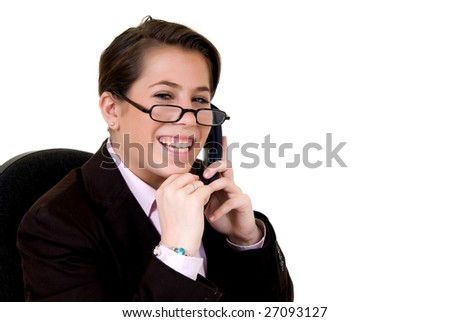 Attractive smiling young secretary, help desk assistant. White background, studio shot.