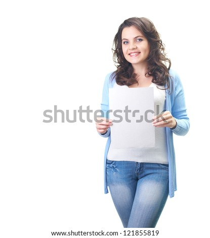 Attractive smiling young woman in a blue shirt holding poster. Isolated on white background