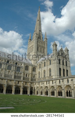 Attractive spire of Norwich Cathedral, England - stock photo