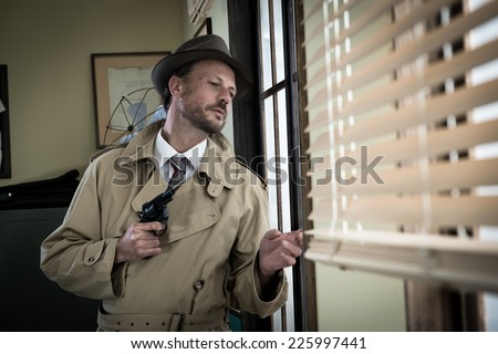 Attractive spy agent peeking from an office window, film noir. - stock photo